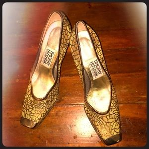 Timothy Hitsman Square Toe Gold Mesh Vintage Heels